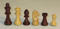 "The German Knight - Walnut Stained Boxwood and Natural Boxwood Chess Pieces - 3"" King"