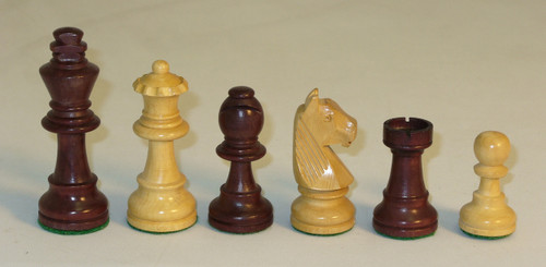 """The German Knight - Walnut Stained Boxwood and Natural Boxwood Chess Pieces - 3"""" King"""