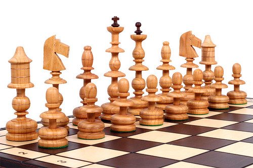 The Alcazar - Unique Wood Chess Set, Exotic Hand Craved Chess Pieces, Chess Board & Storage