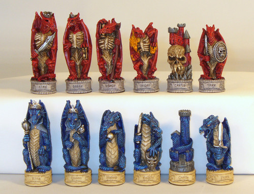 Dragon chessmen in blue and red