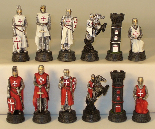 Crusades Painted Resin Chessmen Chess Pieces