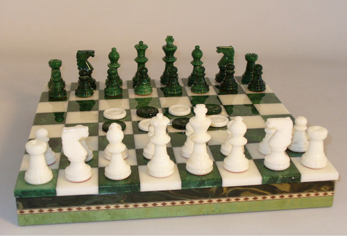 Alabaster Chess Set, Black and Green, Checkers and Inlaid Chess Board with Storage