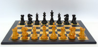 Black and Antiqued Boxwood French Knight  Chess Pieces with Black and Madrona Ches Board