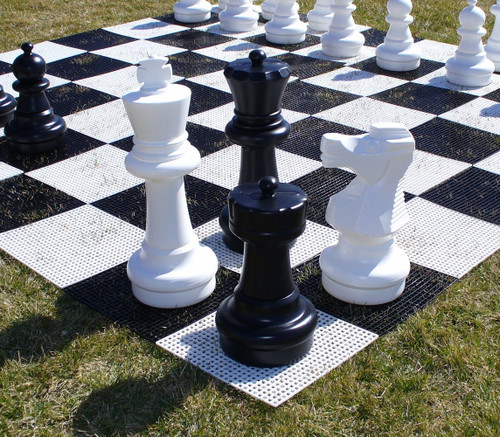 "Complete Giant Chess Set with Interlocking Grid Chess Board 25"" King"