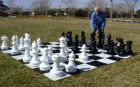 "Complete Giant Chess Set with Nylon Chess Board 25"" King  in the back yard"