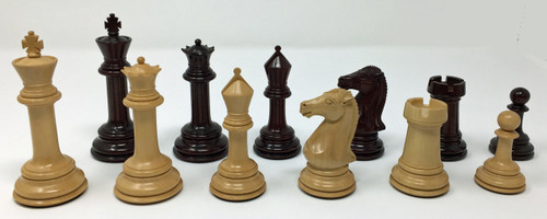 "Excalibur Chess Pieces in Rosewood and Boxwood with 4"" King in Leatherette Storage Box with Key"