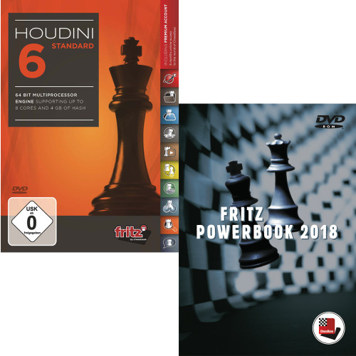 Houdini 6 Standard Chess Playing Software with Fritz PowerBook 2018 - Chess Database Software (PC-DVD)