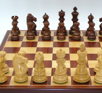 Chess Set: The Ananda Golden Rosewood and Boxwood with Padauk and Maple wood Chess Board
