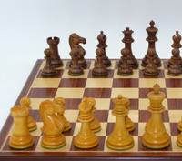 The Antiqued Classic Chess Set:Golden Rosewood and Boxwood with Padauk and Maple wood Chess Board