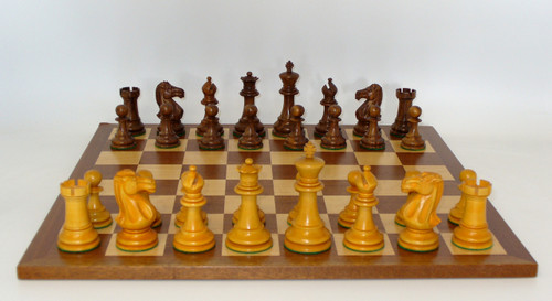 The Antiqued Classic Chess Set:Golden Rosewood and Boxwood with Sapele and Maple Wood Chess Board