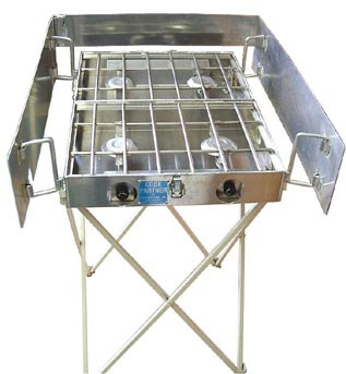"Stove stand and optional windscreen is available for 16"", 18"", 22"" and 26"" stoves. The stand height is 32"", making the cooking surface 35"" high."