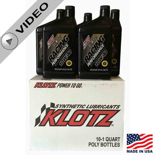 Klotz 10W/40 Estorlin Racing Performance Synthetic Oil - NEW Formula for Crates - Case of 10 Quarts