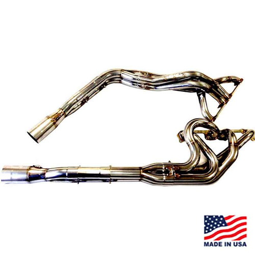 "Beyea Stainless Steel 602 DLM Headers - 1.63-1.75""-2.75"" Collector w/ Extensions and Mufflers"