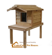 Small Insulated Cedar Cat House with Lounging Deck and Extended Roof