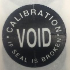 "3/4"" Calibration Void if Seal is Broken - Tamper Proof Seal"