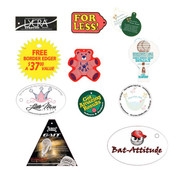Die cut tags can be printed on a variety of stocks, and custom shaped to your artwork.