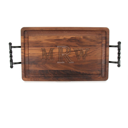 Carved Monogram 15 x 24 Rectangle Walnut Cutting Board w/ Twisted Ball Handles
