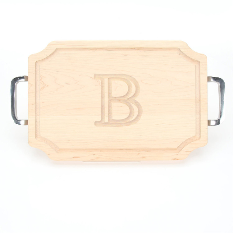 Carved Initial 12 x 18 Scalloped Maple Cutting Board with Polished Handles