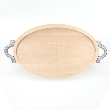 Carved Initial 15 x 24 Oval Maple Cutting Board with Rope Handles