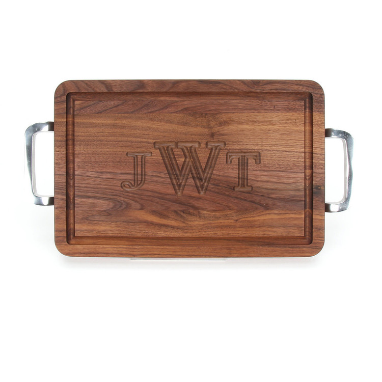 Carved Monogram 10 x 16 Rectangle Walnut Cutting Board w/Polished Handles