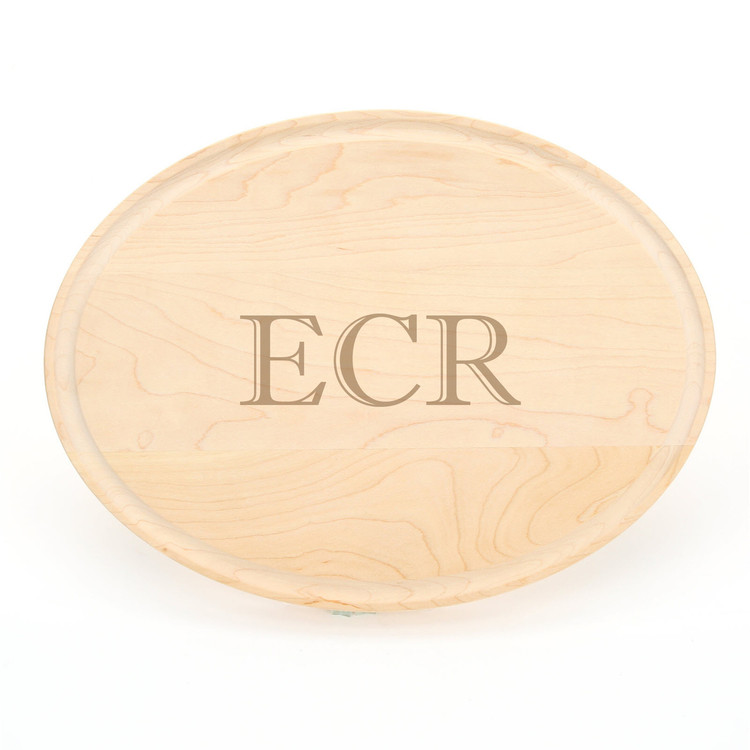 Laser Engraved Monogram 9 x 12 Oval Maple Cutting Board