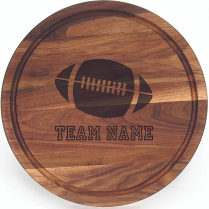 """Sports Engraved 16"""" Round Walnut Cutting Board w/Engraved Players Signatures"""