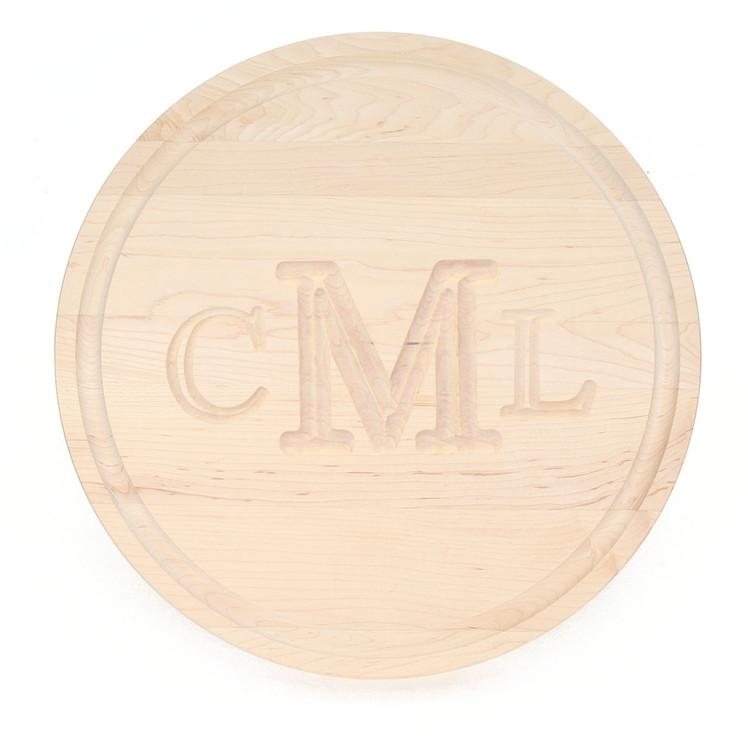 "16"" Round Maple Cutting Board - Carved Monogram"
