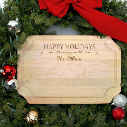 Personalized Holiday Cutting Board - Family Name