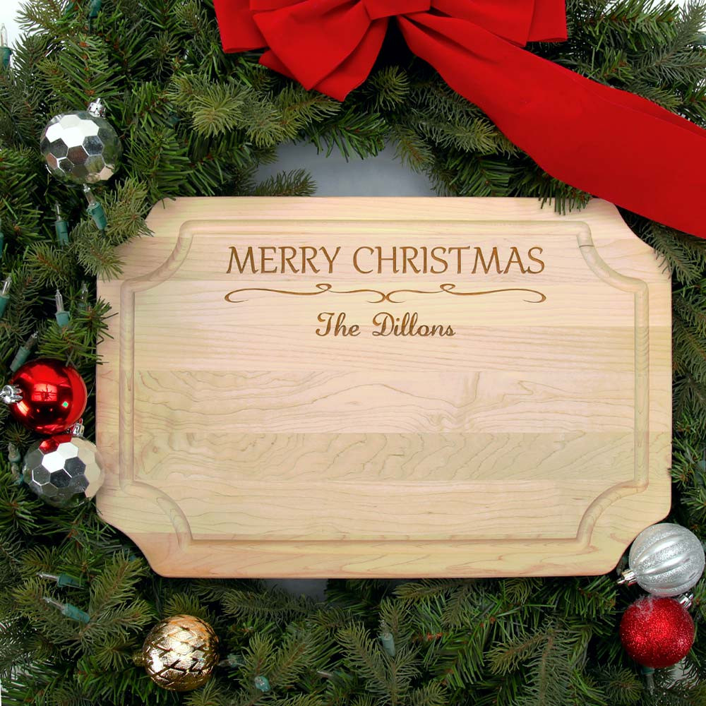 personalized christmas cutting board family name