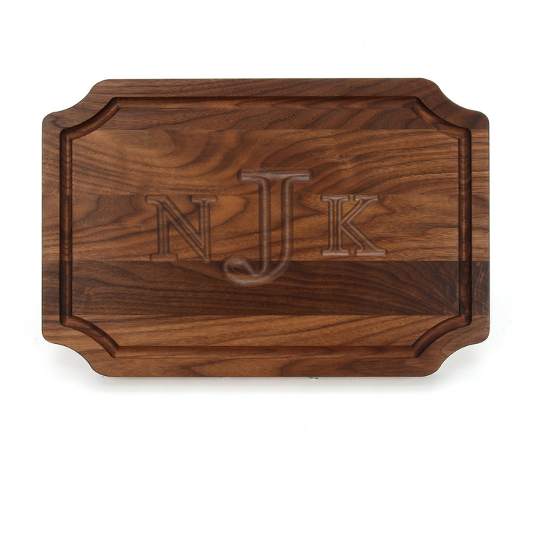 12 x 18 Walnut Scalloped Cutting Board - Carved Monogram
