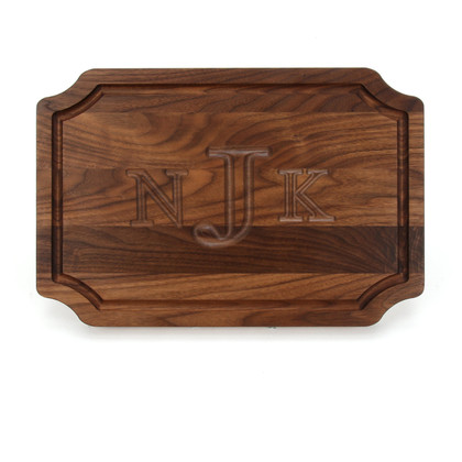 12 x 18 Walnut Scalloped Cutting Board - Carved Monogram