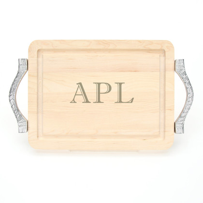 9 x 12 Maple Rectangle Cutting Board - Rope Handles - Laser Engraved Monogram
