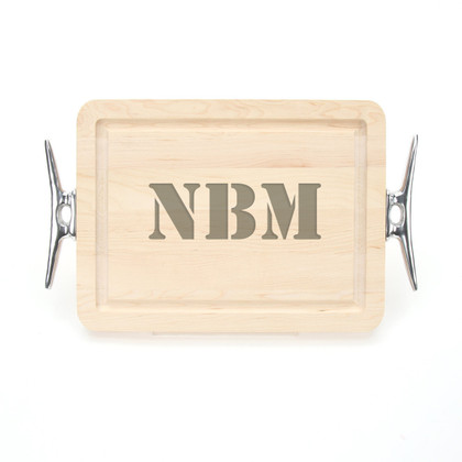 9 x 12 Maple Rectangle Cutting Board - Cleat Handles - Laser Engraved Monogram