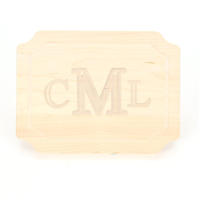 9 x 12 Scalloped Maple Cutting Board - Carved Monogram
