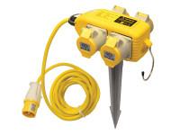 Faithfull Power Plus Power Block 4 Way Distribution Box 110 Volt 16 Amp  Duotool