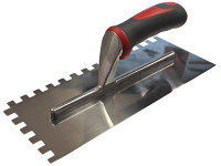 Faithfull Notched Trowel Serrated 10mm Stainless Steel Soft-Grip Handle 13 x 4.1