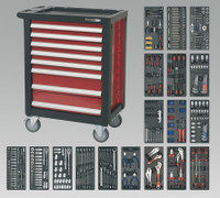 Sealey Rollcab 8 Drawer with Ball Bearing Runners & 707pc Tool Kit from Toolden