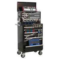 Sealey Topchest & Rollcab Combination 15 Drawer with Ball Bearing Runners - Black & 147pc Tool Kit | Toolden
