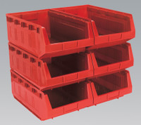 Sealey Plastic Storage Bin 310 x 500 x 190mm - Red Pack of 6 from Toolden