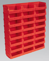 Sealey Plastic Storage Bin 103 x 85 x 53mm - Red Pack of 24 from Toolden