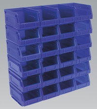 Sealey Plastic Storage Bin 105 x 165 x 83mm - Blue Pack of 24 from Toolden