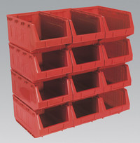 Sealey Plastic Storage Bin 209 x 356 x 164mm - Red Pack of 12 from Toolden