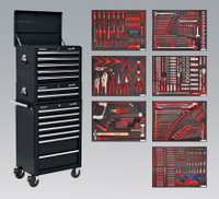 Sealey Tool Chest Combination 14 Drawer with Ball Bearing Runners - Black & 446pc Tool Kit from Toolden