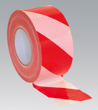 Sealey Hazard Warning Barrier Tape 80mm x 100mtr Red/White Non-Adhesive from Toolden