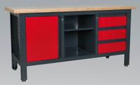Sealey Workstation with 3 Drawers, 1 Cupboard & Open Storage from Toolden