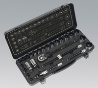 "Sealey Socket Set 28pc 1/2""Sq Drive 6pt WallDrive® Metric Black Series from Toolden"
