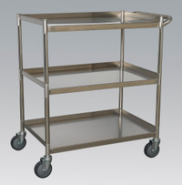 Sealey Workshop Trolley 3-Level Stainless Steel from Toolden
