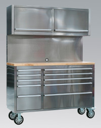 Sealey Mobile Stainless Steel Tool Cabinet 10 Drawer with Backboard & 2 Wall Cupboards from Toolden
