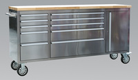 Sealey Mobile Stainless Steel Tool Cabinet 10 Drawer & Cupboard from Toolden