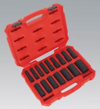 "Sealey Impact Socket Set 16pc 1/2""Sq Drive Deep Lock-On 6pt Metric from Toolden"